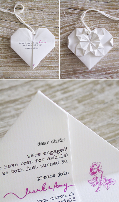 the diy origami heart invitations are in the mail eat drink chic