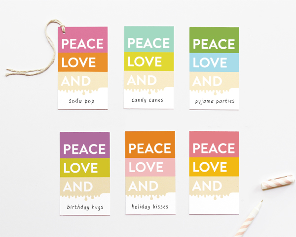 Free peace love and colour block gift tags eat drink chic free peace love and colour block gift tags december 17 2012 negle Images
