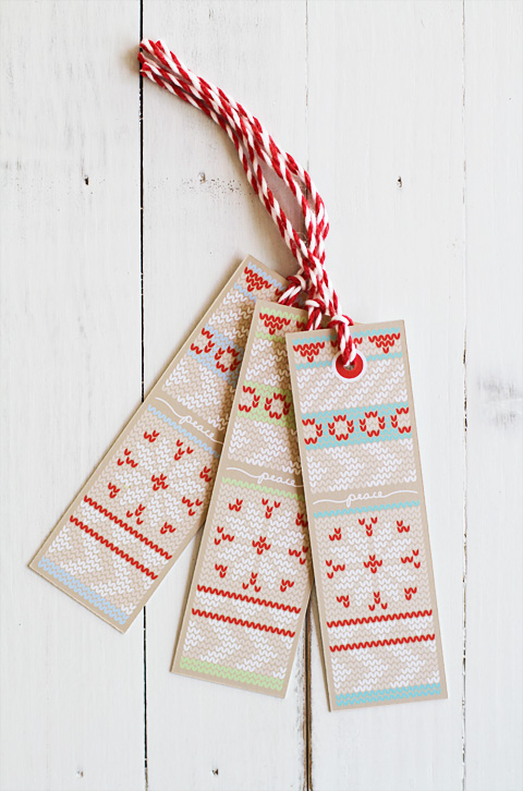 Christmas holiday knit gift tags